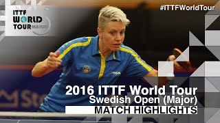 【動画】EKHOLM Matilda VS ハン・イン 2016年スウェーデン・オープン ベスト32