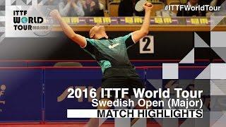 【動画】ZHOU Yu VS HACHARD Antoine 2016年スウェーデン・オープン ベスト64