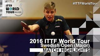 【動画】トルルス・モアガド VS リョウ・シンテイ 2016年スウェーデン・オープン ベスト32