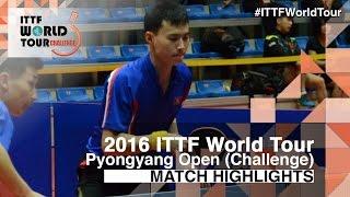 【動画】ZHAO Zhaoyan VS CHOE Il 2016年平壌オープン 準々決勝