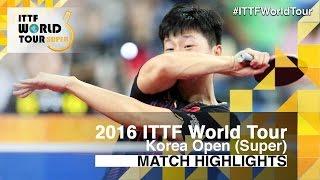 【動画】鄭栄植 VS 馬龍 2016年韓国オープン ベスト16
