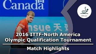 【動画】ワン・ユージーン VS THERIAULT Pierre-Luc 2016年ITTF  - 北米オリンピック予選トーナメント 決勝