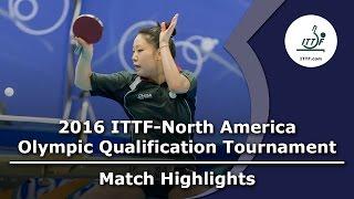 【動画】ZHANG Lily VS ZHENG Jiaqi 2016年ITTF  - 北米オリンピック予選トーナメント 決勝