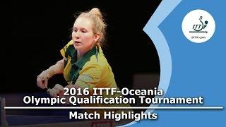 【動画】メリッサ・タッパー VS YEE Grace Rosi 2016年ITTF・オセアニアオリンピック予選トーナメント 準々決勝