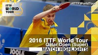 【動画】KALLBERG Anton VS アレクサンドル・ロビーノ 2016年カタールオープン 準々決勝