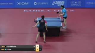 【動画】佐藤瞳 VS リ・フェン 2016年韓国オープン ベスト32