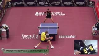 【動画】ブラディミル・サムソノフ VS M.カールソン 2017シーマスター2017年プラチナ、カタールオープン ベスト32