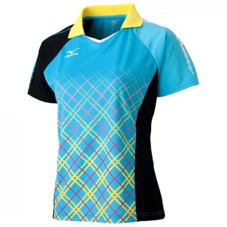 ゲームシャツ(2016年卓球日本代表モデル)[レディース](ブルーアトール×ブラック)