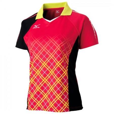 ゲームシャツ(2016年卓球日本代表モデル)[レディース](バーチャルピンク×ブラック)