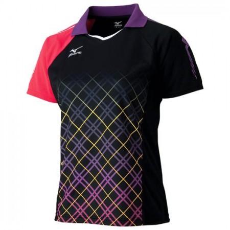 ゲームシャツ(2016年卓球日本代表モデル)[レディース](ブラック×バーチャルピンク)